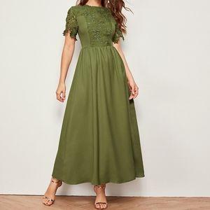 Shein/Army Green/Guipure Lace Top/ Maxi Dress